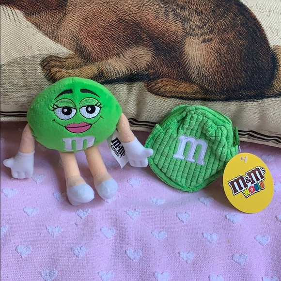 Green M&M's World candy 🍬 doll & coin purse 👛